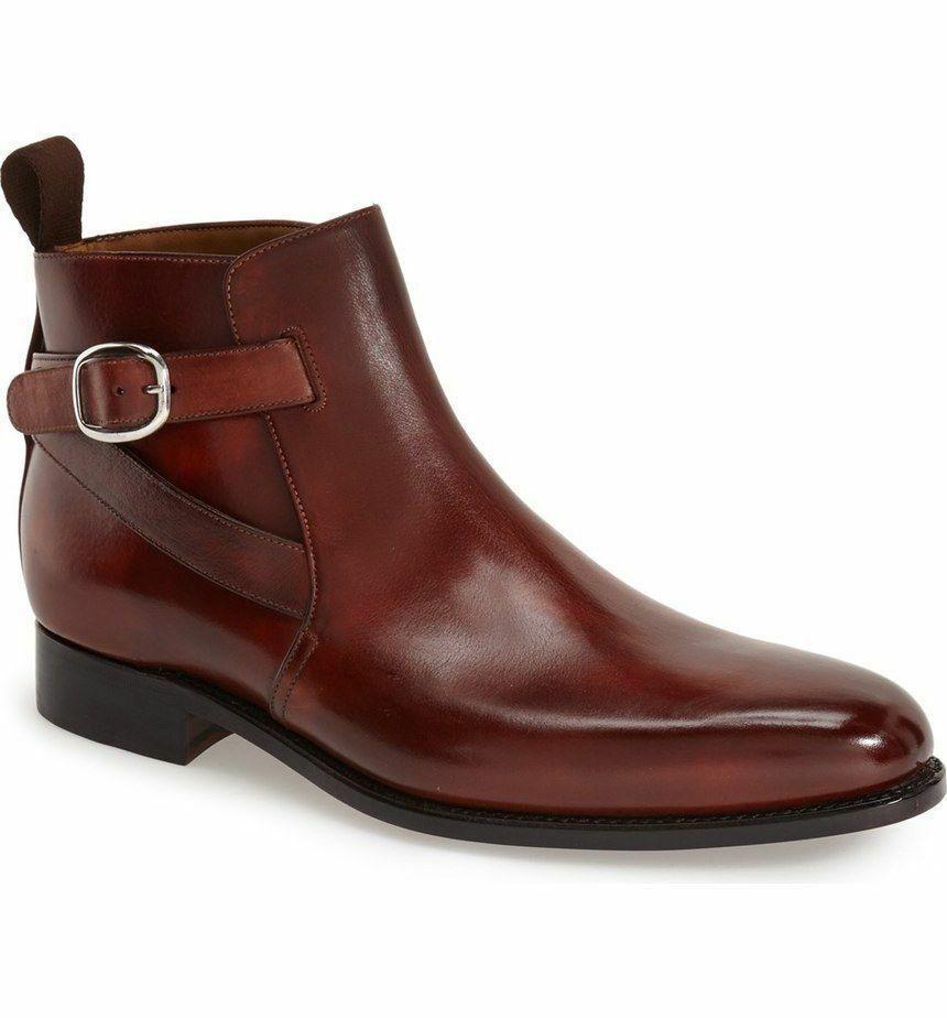 Handmade Men's Brown Jodhpurs High Ankle Monk Strap Leather Boots