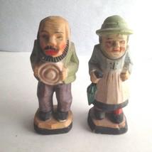 """Vintage Hand Painted Ceramic Figurines  Elderly Man and Woman 5"""" Tall Ja... - $15.11"""