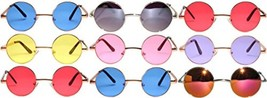 Lot Of 9 Pairs Wholesale Round Lens Sunglasses Metal Frame Wholesale Retro Tint - $65.49