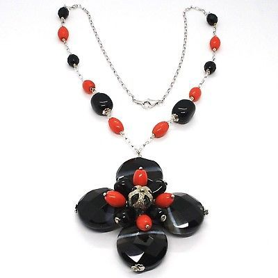 925 Silver Necklace, Agate Faceted Disc, Onyx, Coral, Flower Pendant