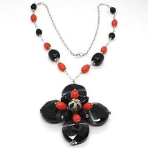 925 Silver Necklace, Agate Faceted Disc, Onyx, Coral, Flower Pendant image 1
