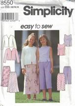 Girls Top Jacket Skirt Pants Simplicity 8550 Spring Designs Sizes 12-16 - $3.46