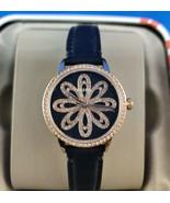 Fossil 3 Hand Rose Gold Glitz Flower Face Black Band Women's Watch Bq700... - $62.50