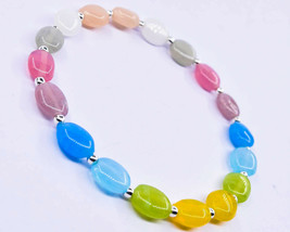 "N-3491 Mix Quartz Gemstone Made Spacer Oval Plain Beads 32ct 7x9mm 7"" Br... - $11.87"