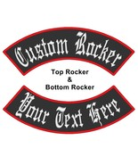 Custom Embroidered Top And Bottom Rocker Vest Biker MC Club Sew on Patch... - $26.65