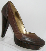 Guess by Marciano 'Brittany' brown leather oxford platform heels 9M - $31.47