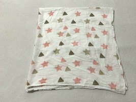 Aden + Anais White Pink Tan Brown Star Triangle Cotton Muslin Baby Blanket - $18.99