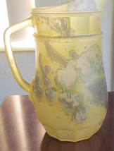 Vintage Reuven Rueven Handpainted Nouveau Yellow Glass Extra large Art Design Ju - $69.99