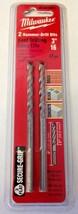 "Milwaukee 48-20-8805 3/16"" x 2"" x 4"" 3-Flat Secure-Grip Hammer Drill Bits 2 Pack - $4.93"