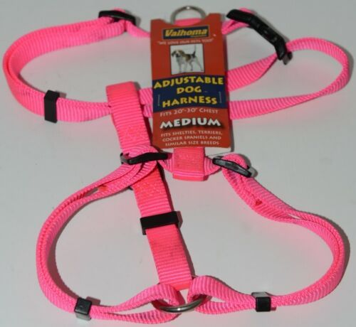 Valhoma 733 HP 3/4 inch Adjustable Dog Harness Hot Pink Medium Nylon Pkg 1