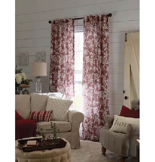 Primary image for allen + roth Jacklyn Wine 84-in Polyester Cotton Back Tab Single Curtain Panel
