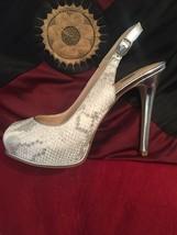 Guess Evening Animal Print Metallic Silver Leather Platform Shoes - $60.76