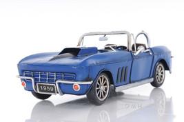 """1960s Blue Chevrolet Corvette Stingray Metal Model Car Desk Decor 18"""" Ne... - $69.95"""