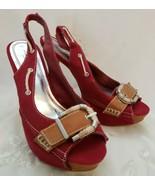 Cherry Red Stacked Heels Sz 8.5 M Peep Toe Slingback Fabric Buckle Anne ... - $18.79