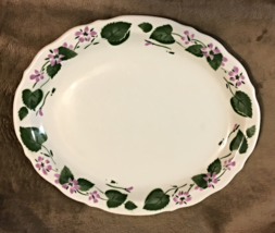 """WELLSVILLE 11.5"""" PLATTER WITH GREEN VINES AND PUPLE FLOWERS - $24.99"""