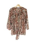 KUT FROM THE KLOTH Animal Print Sheer Top Sz M Brown/Orange 3/4 Sleeves. - $26.17