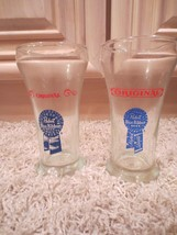 7 VINTAGE MILLER, SCHLITZ, HAMMS, BUDWEISER & PABST BEER MUG GLASSES BOT... - $24.99