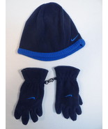 Nike Swoosh Blue Fleece Beanie & Fleece Gloves Youth Boys 4-7 NWT - $20.04