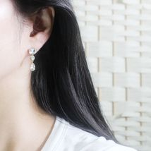 Rectangle Round Water Drop Made With Swarovski Stone Dangle Earrings 925 Silver  image 8