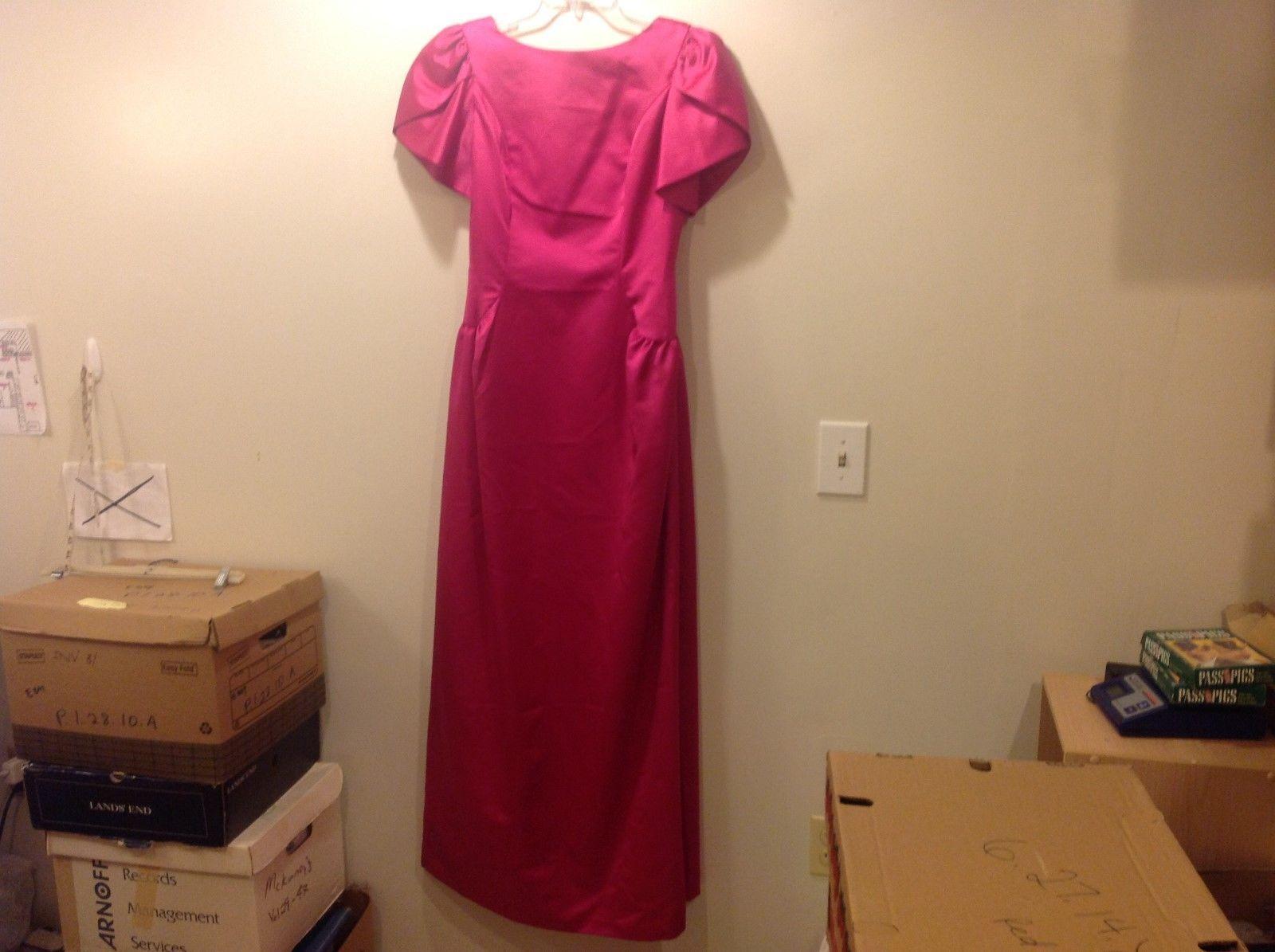Dressy Creations Raspberry Shiny V-Back Formal Dress Sz 14