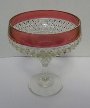 Indiana Glass Diamond Point Compote Ruby Red Flashing Vintage - $14.84