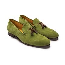 Handmade Men's Green Suede Slip Ons Loafer Tassel Shoes image 1
