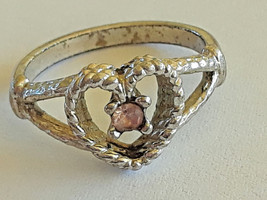 STUNNING VINTAGE HEART SILVER TONE BABY OR PINKY RING SIZE 4 - $3.00