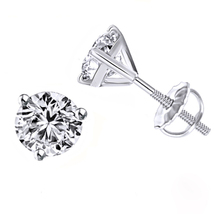 10k White Gold Plated 925 Sterling Silver Womens Stud Earrings Round Cut Diamond - $28.54