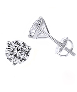 10k White Gold Plated 925 Sterling Silver Womens Stud Earrings Round Cut... - $28.54