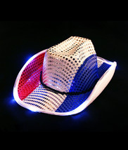 Adult Patriotic 4th of July  Independence Day Light Up Cowboy Hat Costum... - €7,62 EUR