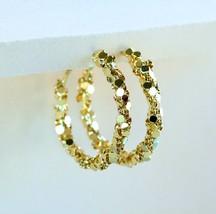 Gold Disc Hoop Earrings Statement Earrings Women Fashion Earrings - $18.50