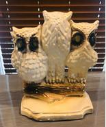 Vintage Chalk Owls Figurine See no Evil Hear No Evil and Speak no Evil - $33.23
