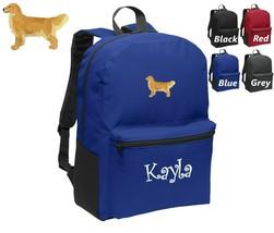 Personalized Kids Backpack Embroidered Golden Retriever Dog Monogrammed ... - $20.99