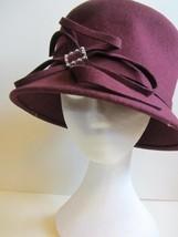 large cloche bucket hat 20's style burgundy wool felt - $12.55