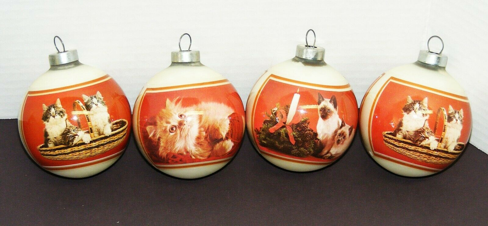 Primary image for CATS - 4 Corning Glass Christmas Ornaments Featuring Kittens/Cats