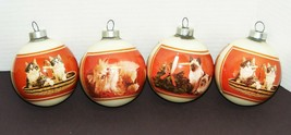 CATS - 4 Corning Glass Christmas Ornaments Featuring Kittens/Cats - $15.00