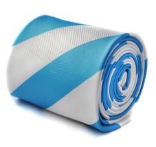 Frederick Thomas medium blue and white barber striped tie FT1592