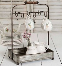 Vintage Rustic Galvanized Tabletop Mug Rack Tea Cup Hook basket Jewelry display image 1