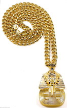 Pharaoh Necklace New Pendant With 36.5 Inch Cuban Link 10mm Egyptian Kin... - $32.24