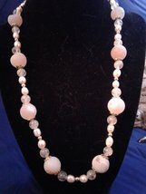 "21.5"" Handmade Pink Druzy Agate, Genuine Pearl, and Amber Beaded Necklace Z292 - $50.00"