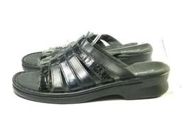 Clark's Slide Sandals Women's Sz 7 M Black Leather (sb17ep) - £16.59 GBP