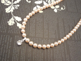 Fancy, 6mm Blush Peachy Pink Glass Pearl Necklace with Swarovski Pendant - $33.00