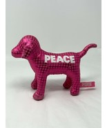 "VICTORIAS SECRET PINK PLUSH STUFFED PEACE METALLIC POLKA DOT DOG 7"" LONG  - $10.99"