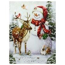 "Led Lighted Snowman And Reindeer Christmas Canvas Wall Art 15.75"" X 11.75 - $44.05"