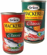 Grace Mackerel in Tomato Sauce 5.5 oz Tin Regular and Hot & Spicy - $12.50