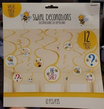 "Gender Reveal ""What Will The Little Honey Bee"" Swirl Decorations- 12pcs - New - $10.69"