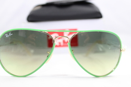 Ray Ban RB 3025 JM 001/3M Green gold/ Grey Gradient New Aviator Authentic - $145.00
