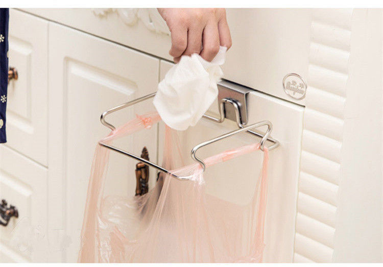 kitchen Accessories New Home Trash Bag Holder Door Hook Stainless Steel Garbage