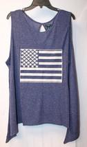 New Womens Plus Size 2X Navy Blue Marled Americana Flag Patch Sharkbite Tank Top - $15.47