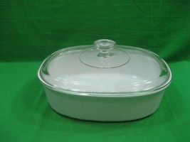 Vintage Corning Ware French White F-2-B Casserole Dish 2.8 Liter & Glass Lid  - $18.66